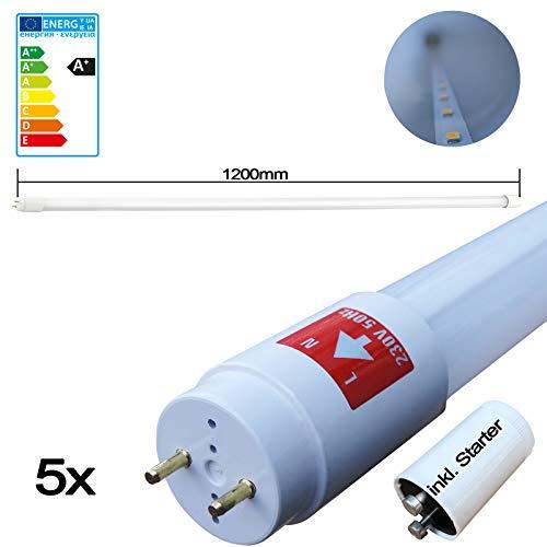 Preisvergleich Produktbild 5er Set SMD Premium LED Röhre 120cm (1200mm Leuchtstoffröhre,  T8 G13,  1700 Lumen,  4000 Kelvin,  Neutralweiß (Tageslicht),  Leistung: 18W) - inkl. Starter