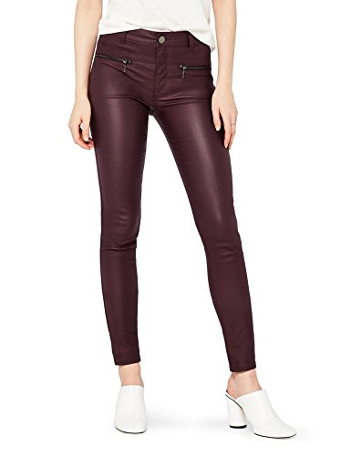 Amazon-Marke: find. Damen Skinny Fit-Hose mit Ledereffekt, Rot (Cranberry), 34, Label: XS