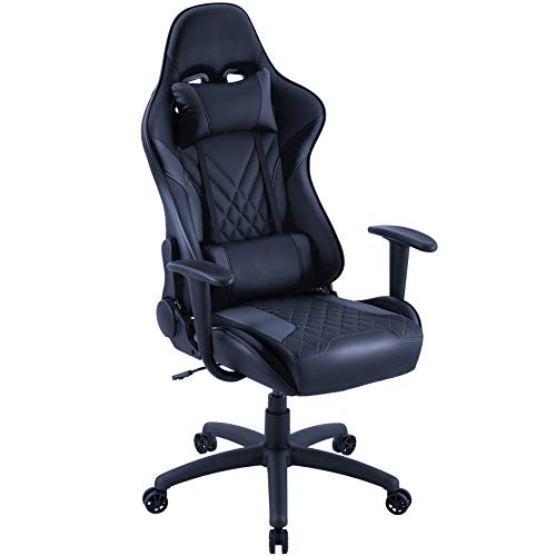 Eureka Ergonomic Video Gaming Chair Office Chair High Back Leather Chair Racing Executive Ergonomic Adjustable Swivel Chair with Movable Headrest and Lumbar Support for Teens and Adult, Black
