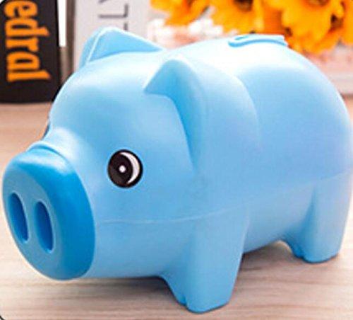 SHANF Dessin animé Cochon Forme pièce de Monnaie de Stockage économique Tirelire Boîte de Rangement pour Enfants Cadeau (Bleu)