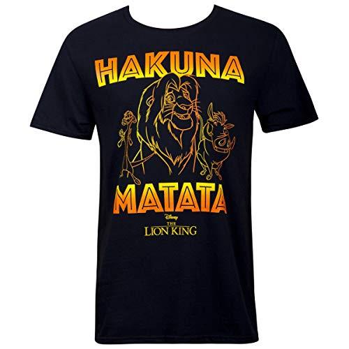 Lion King Camiseta masculina preta Hakuna Matata Outline, Preto, S