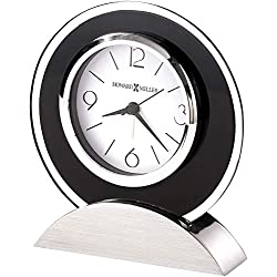 Howard Miller Dexter Alarm Table Clock 645-812 – Black Glass and Silver Finish Home Decor with Quartz, Alarm Movement