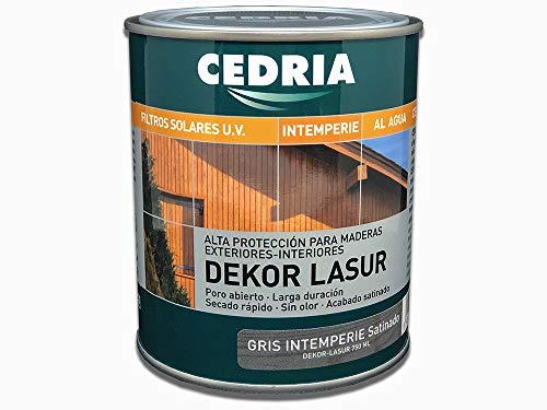 Lasur protector madera exterior al agua Cedria Dekor Lasur 750 ml (Gris Intemperie)