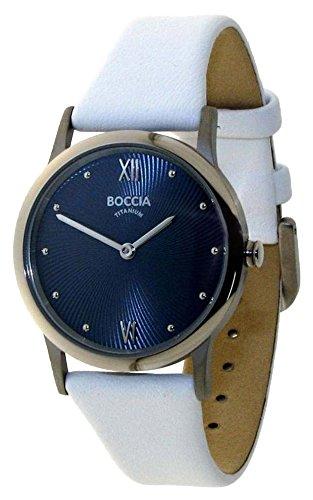 Boccia Damen Analog Quarz Uhr mit Leder Armband 3265-04