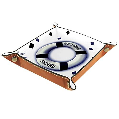 Valet Tray Leder-Organizer Rettungsring auf Meer Drucken Fernbedienung Schlüssel Uhren Geldbörse Münze Schmuck Aufbewahrungsbox für Nachttisch Kommode Schreibtisch Zuhause Küche Büro