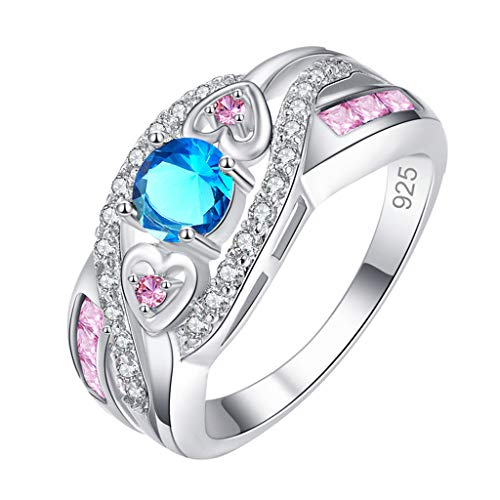 Turquoise Retro Knuckle Stacking Rings for Women Engagement Rings Creative Personalized Ring Women's Accessories Weedding Rings Valentine's Day Present(7,Blue)