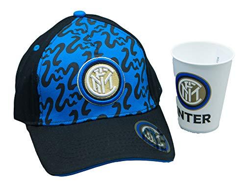 Generico Gorra con visera del FC Inter, producto oficial, para hombre, mujer, niño, con hebilla de ajuste de anchura, con copa de plástico oficial
