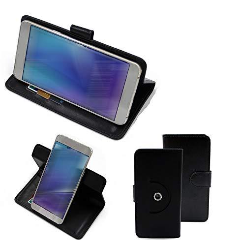 K-S-Trade Handy Hülle Schutz Hülle + Kopfhörer Kompatibel Mit Fujitsu Arrows U Handyhülle Flipcase Smartphone Cover Handy Schutz Tasche Walletcase Schwarz (1x)