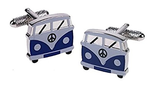 Blue VW Camper Van silver-plated torpedo cufflinks in padded gift box