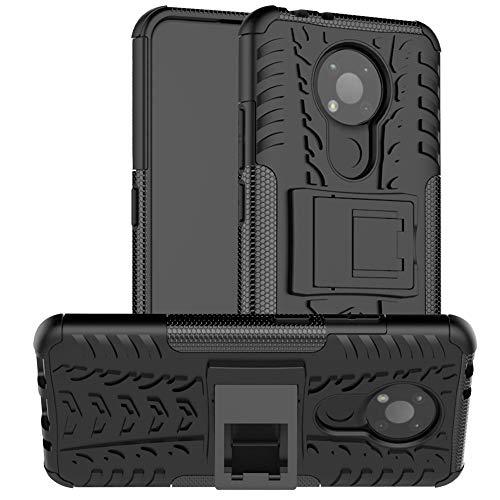 Easyshow Funda Tough Armor para Nokia 3.4 Tapa Trasera Dura Antigolpes con Función de Soporte Protector Carcasas y Fundas para Nokia 3.4-Negro
