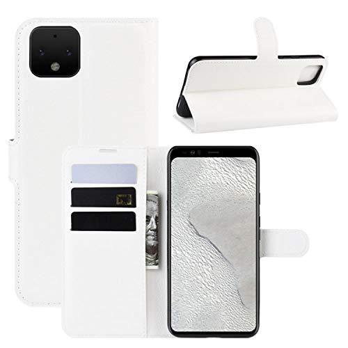 HualuBro Google Pixel 4 XL Hülle, Leder Brieftasche Etui LederHülle Tasche Schutzhülle HandyHülle Handytasche Leather Wallet Flip Hülle Cover für Google Pixel 4XL 2019 (Weiß)