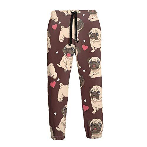 Florasun Pug Red - Pantalones deportivos para hombre, talla grande y alta, para entrenamiento