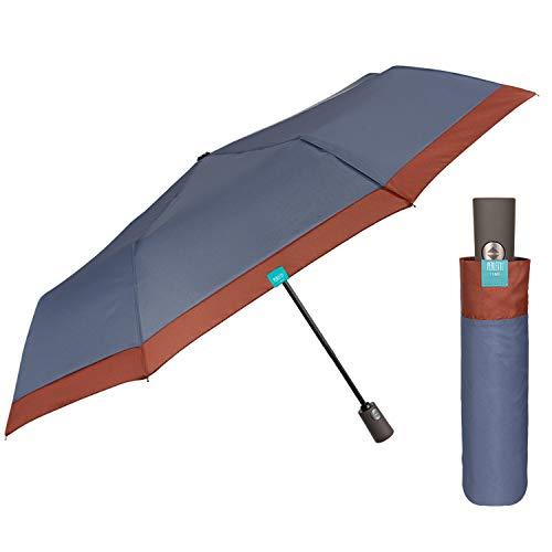 Paraguas Mujer Plegable Abre y Cierra Automático - Sombrilla Lluvia Resistente Cortaviento Coloreado - Paraguas Pequeño Compacto Práctico para Chicas - Diámetro 98 cm PERLETTI (Azul Borde Marrón)