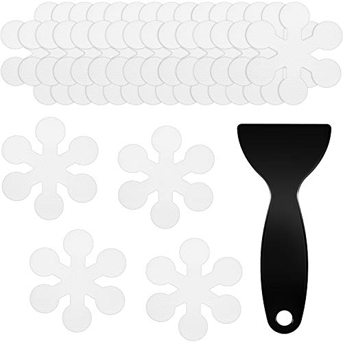 Mudder 36 Piezas Pegatinas de Bañera Antideslizantes Adhesivos Tiras de Bañera Pegatina Transparentes en Forma de Copo de Nieve con Raspador de Plástico para Duchas Bañera Piscina