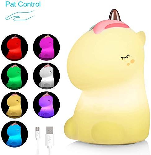 Litake Einhorn Nachtlichter, USB Wiederaufladbar Baby Nachtlicht Nachttischlampe Weiches Silikon Nettes Kinderzimmer Warmweiß- und 7-Farben-Atemmodi für Kinder, Babys