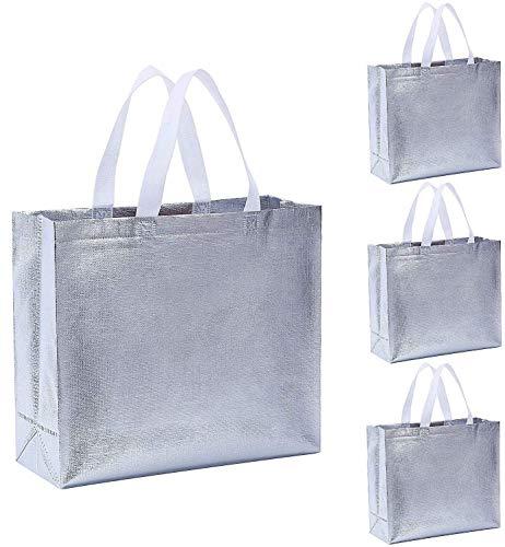 Gesodant Bling Glossy Glitter Durable Reusable Grocery Bag Tote Bag Handles Bag,Medium Non-woven Fashionable Present Bag Gift Bag,Goodies Bag Shopping Bag, Promotional Bag,Totes, Set of 12, Silver