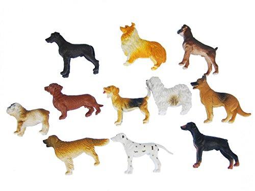 Miniblings 10x Hunde Aufstellfigur Gummitier Haustier Hund Set Tiere Tierset Mix