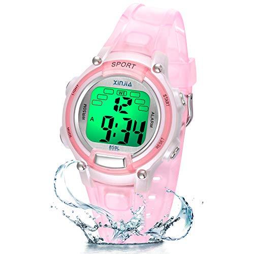 Reloj Niño Niña Digital,7 Colores 50M Impermeables Relojes de Pulsera Infantil,Relojes Deportivos de Pulsera Multifuncionales para Exteriores con Cronómetro/Alarma para Niños 5-15 años (Rosa Claro)