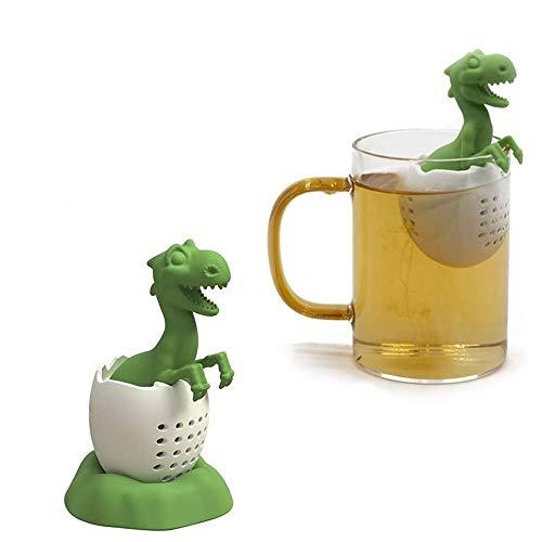 99AMZ Silikon teesieb teefilter, Nette Dinosaurier-Form-Tea Leaf Herbal Strainer Filter Infuser Taschen Spielzeug, Tee-Ei Extra feines Teefilter Lebensmittel Silikon, Kreatives Geschenk (Grün)