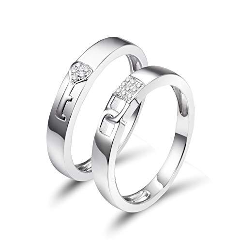 AnazoZ Anillo de Mujer con Diamante,Anillo Mujer Oro Blanco 18 Kilates Compromiso Plata Redondo con Llave y Cerradura Diamante 0.045ct Talla 18,5