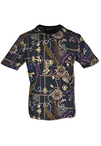 Carlo Colucci T-Shirt mit Allover-Print, Schwarz Schwarz/Bunt S