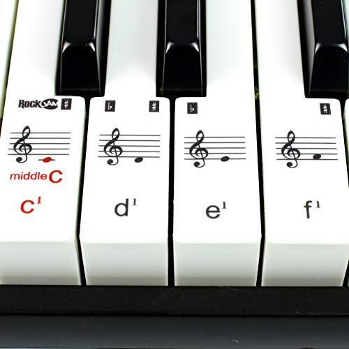RockJam RJ549 49 Key Keyboard Piano with Sheet Music Stand Piano Note Sticker Power Supply and Simply Piano Application