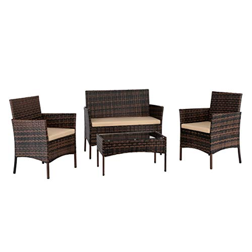 2pcs Arm Chairs 1pc Love Seat & Tempered Glass Coffee Table Rattan Sofa Set Brown Gradient Quality Sofa Couches for Small Apartment, Home, Office
