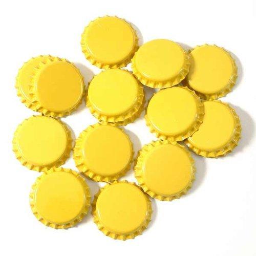 Chapas taladrados Diámetro 26mm con junta para estándar botellas de plástico., amarillo, 1000 Stück Kronkorken