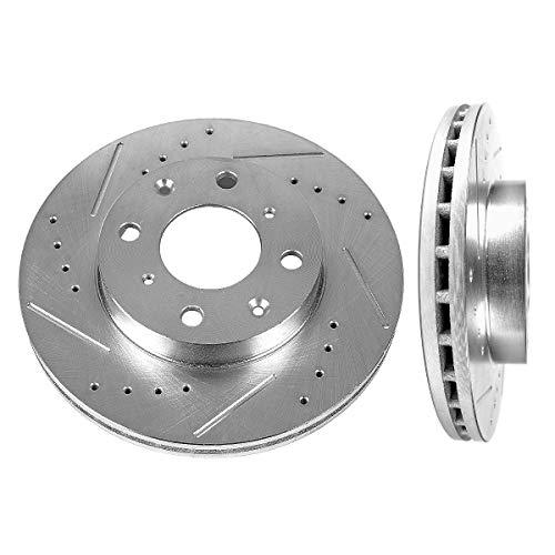 Callahan CDS02844 FRONT 240mm Drilled & Slotted 4 Lug [2] Rotors [ fit Honda Civc CX GX LX HX S Si CRX DX VX ]