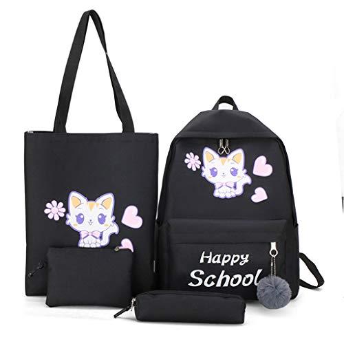 Luosh 4 stuks dames rugzak rugzak leuke katten canvas school boek schoudertas laptop dagrugzak handtas pennenmapje set voor tieners meisjes