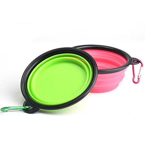 donfonhyx989u7 Silicone Inklapbare huisdier kom huisdier hond kom siliconen kom opvouwen outdoor ketel huisdier hond water kom uit, Pink, 13 * 5.5