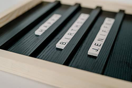 Scrabble Letter Board - Wood Letter Tile Rustic Sign Art | Farmhouse Style Letterboard Décor | Home or Office Decorations | Changeable Announcement Message Boards | 100 Wood Scrabble Tiles