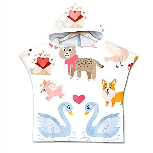 Keep Simple Juego de 2 toallas de mano con dibujos animados para niños, toalla de baño, toalla de playa, capa infantil, con capucha, 60 x 80 cm (A)