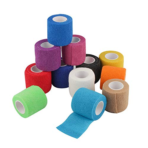 DE Sports Pre-Wrap,12 Pieces Rainbow Pack of Athletic Tape for