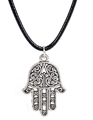 Legisdream Seil-Halskette Schwarze Hand von Buddha-Juwel verzierte Geschenk-Idee Festival Unisex Porta Fortuna