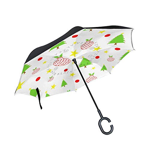 rodde para Lluvia Outdoor Christmas Vector Reverse Double Layer Inverted Net Windproof Umbrellas with C-Shaped Handle