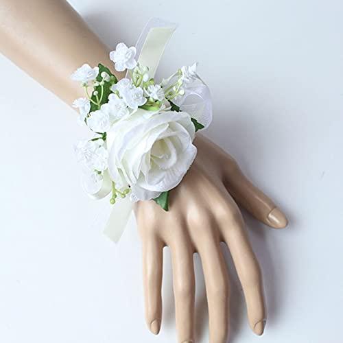 2Pcs Dama de Honor Ramillete de muñeca Pulsera de Boda Blanca Flor de Rosa Novio Boutonniere Ramillete de Boda Flor Mariage Accesorios - Wrist-B-2Pcs