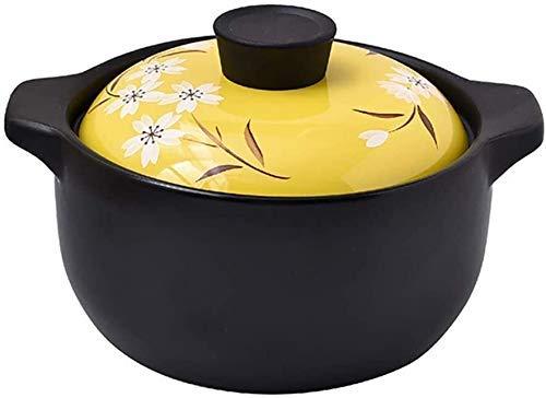 ouruanyang Cacerola con tapa, cacerolas de cocina de fuego abierto universal Cocotte, leche postre, arroz, resistente al calor, cacerola de cerámica, olla para sopa de salud, color amarillo 1,6 litros