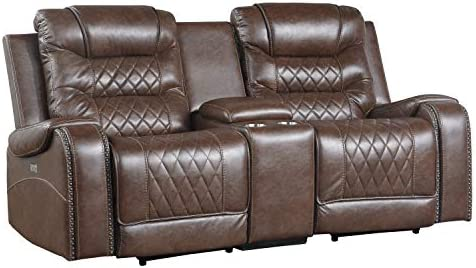 Best Lexicon Noura Power Double Reclining Loveseat, Brown