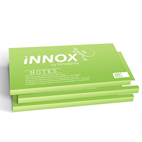 Elektrostatisch selbstklebende Haftnotiz klein | Für alle Oberflächen - Innovative Sticky Notes ohne Klebstoff von INNOX® | Ideen visualisieren, verschieben, strukturieren | Grün, 10x7cm, 300 Blatt