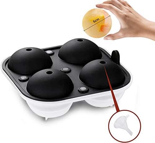 BTkviseQat Eiswürfelform, Silikon Eiswürfelform für 4 runde 6 cm Eiskugel Eiswürfelschale mit einem Trichter Ice Ball Mold für Bier, Cocktails, Whisky【BPA-Frei】