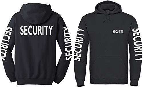 Textildruck Universum Hoodie Security Kapuzenpullover Brust+Rücken+Ärmel Druck (4XL, Schwarz)