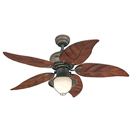 Westinghouse 7861920 Oasis Single-Light 48-Inch Five-Blade Indoor/Outdoor Ceiling Fan, Oil Rubbed Bronze with Yellow Alabaster Glass