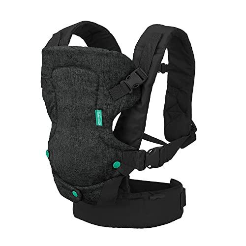 Infantino Babytrage Flip 4-in-1, schwarzer Jeansstoff - Babytrage mit ergonomischem Sitz, verstellbar, Bauch- oder Rückentragefunktion - für Babys von 3,5 bis 14,5 kg