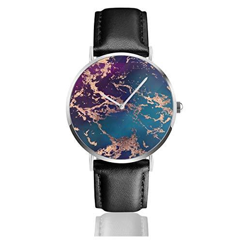 Marble Luxe Decor Morado oscuro y verde azulado con oro clásico casual moda reloj de cuarzo acero inoxidable correa de cuero relojes