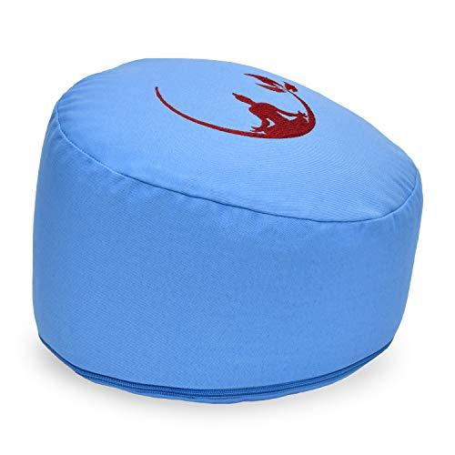 KlarGeist Cojín ergonómico de meditación y yoga, diseño de Buda de media luna, color azul claro, altura del asiento mediana (17-18 cm)