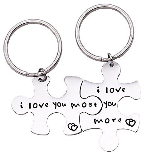 Melix Home Puzzle Piece Llavero I love you more I love you most Couples Llaveros lindos regalos para parejas