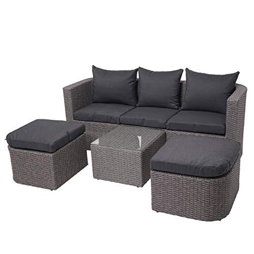 Mendler 3in1-Garnitur HWC-J37, Garten-/Lounge-Set Sonneninsel, Spun Poly halbrundes Poly-Rattan - grau, Kissen anthrazit