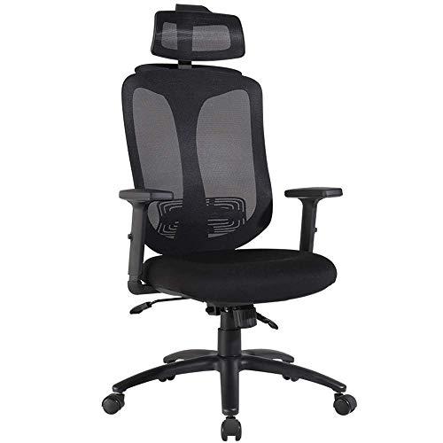 JIEER-C stoelen, beginnersstoel, bureaustoel, eenvoud, moderne hoofdsteun, overkapping, netstof, ademend, kogellagers 200 kg, zwart