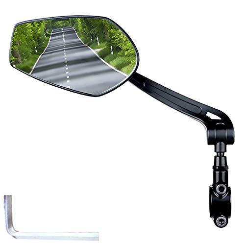HFSKJWI Espejos Retrovisores Ciclismo,Espejo Retrovisor Seguro Manillar De Bicicleta,Reflector Bicicleta De Gran Alcance HD con Rotación Ajustable De 360°,para Bicicleta De Montaña Y Carretera,Left